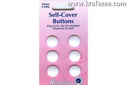 HEMLINE Plastic Nylon Self Cover Button 15 mm (6 pc/pack)