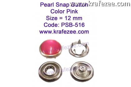 Metal Pearl Snap Fastener Pink (10 sets)