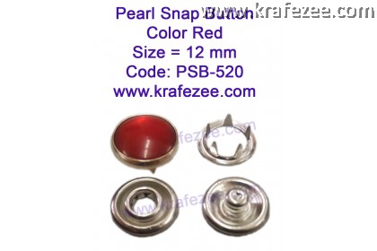 Metal Pearl Snap Fastener Red (10 sets)