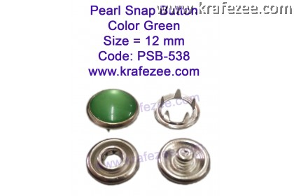 Metal Pearl Snap Fastener Green (10 sets)