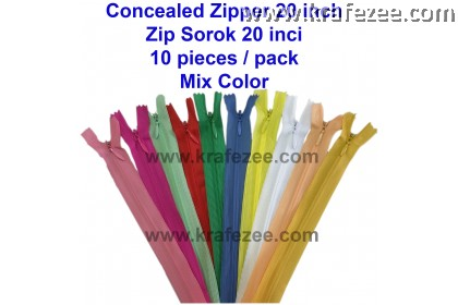 Concealed Zip Sorok 20 inch - 10 pieces