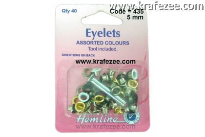 HEMLINE 5 mm Eyelet and Tools Assorted Color