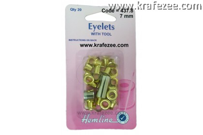 HEMLINE 7 mm Gold Color Eyelet and Tools