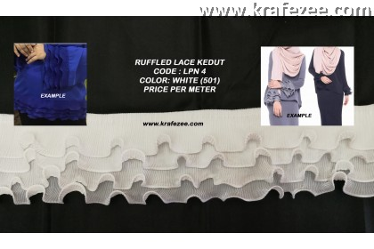 Ruffled Pleated Lace Renda Kedut - White (1 meter)