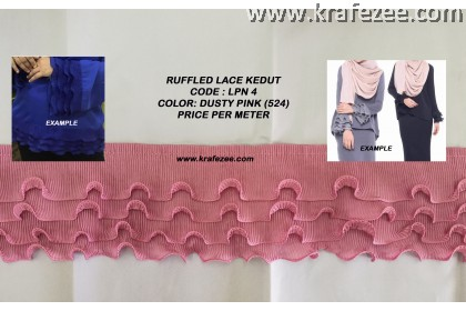 Ruffled Pleated Lace Renda Kedut - Dusty Pink (1 meter)