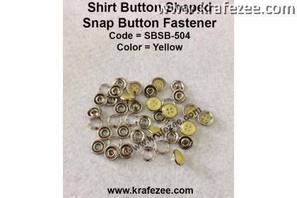 Button Shaped Snap Button Fastener Yellow