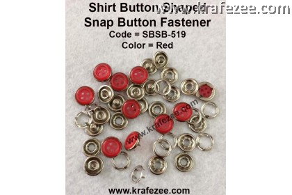 Button Shaped Snap Button Fastener Red