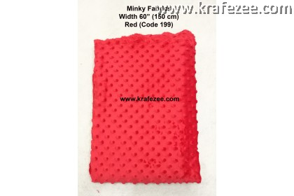 Kain Minky Dots Fabrics Red