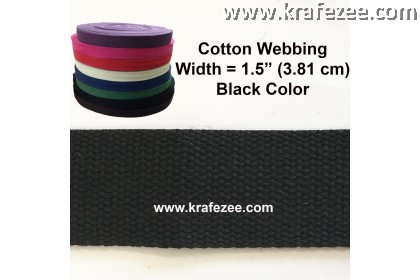 Cotton Webbing 1.5 inch / 38 mm Black