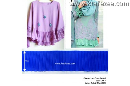 Pleated Lace Renda Kedut 1 Layer - Cobalt Blue (1 meter)