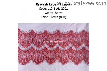 Eyelash Lace 2 Layer - Brown (0.5 meter)