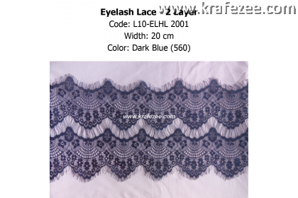 Eyelash Lace 2 Layer - Dark Blue (0.5 meter)