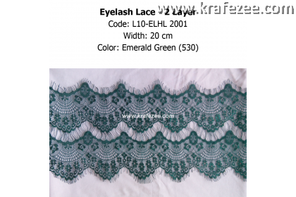 Eyelash Lace 2 Layer - Emerald Green (0.5 meter)