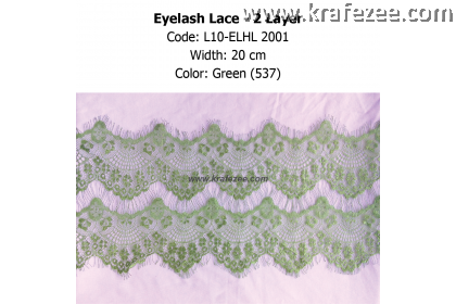 Eyelash Lace 2 Layer - Green (0.5 meter)