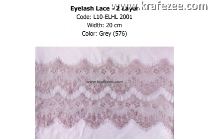 Eyelash Lace 2 Layer - Grey (0.5 meter)