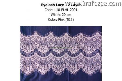 Eyelash Lace 2 Layer - Pink (0.5 meter)