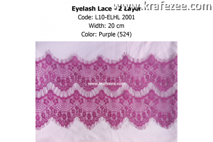 Eyelash Lace 2 Layer - Purple (0.5 meter)