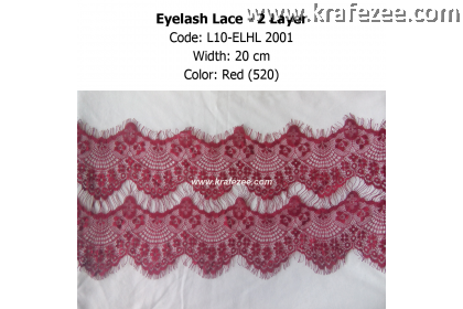 Eyelash Lace 2 Layer - Red (0.5 meter)