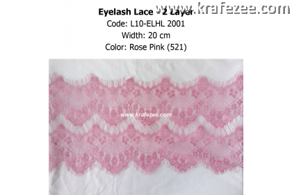 Eyelash Lace 2 Layer - Rose Pink (0.5 meter)