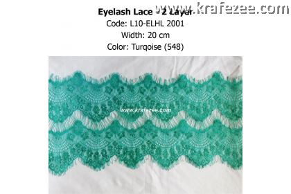 Eyelash Lace 2 Layer - Turqoise (0.5 meter)