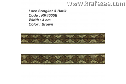 Lace Songket & Batik  (RK4005B) Brown - 1 meter