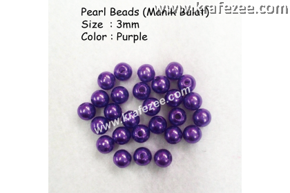 Manik Bulat 3mm Purple (1 Pack 10 gram)