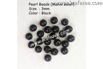 Manik Bulat 3mm Black (1 Pack 10 gram)