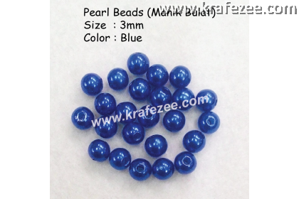 Manik Bulat 3mm Blue (1 Pack 10 gram)