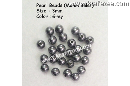 Manik Bulat 3mm Grey (1 Pack 10 gram)