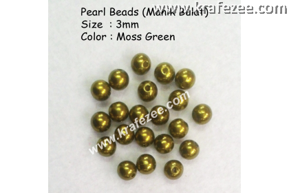 Manik Bulat 3mm Moss Green (1 Pack 10 gram)