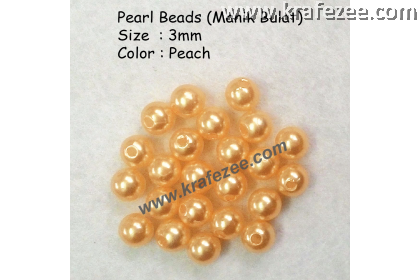 Manik Bulat 3mm Peach (1 Pack 10 gram)