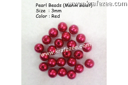 Manik Bulat 3mm Red (1 Pack 10 gram)