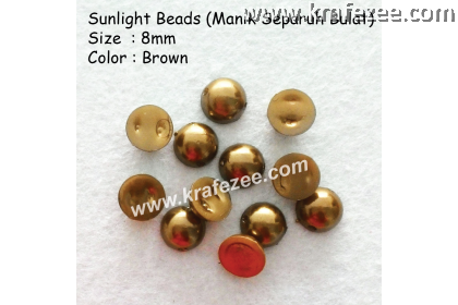 Manik Separuh Bulat 8mm Brown (1 Pack 100 pcs)