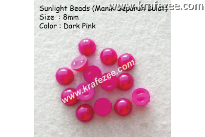 Manik Separuh Bulat 8mm Dark Pink (1 Pack 100 pcs)