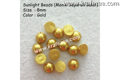 Manik Separuh Bulat 8mm Gold (1 Pack 100 pcs)