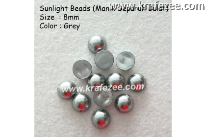 Manik Separuh Bulat 8mm Grey (1 Pack 100 pcs)