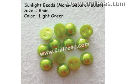 Manik Separuh Bulat 8mm Light Green (1 Pack 100 pcs)