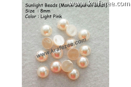 Manik Separuh Bulat 8mm Light Pink (1 Pack 100 pcs)