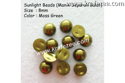 Manik Separuh Bulat 8mm Moss Green (1 Pack 100 pcs)