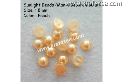 Manik Separuh Bulat 8mm Peach (1 Pack 100 pcs)