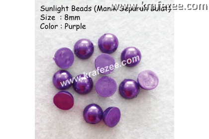 Manik Separuh Bulat 8mm Purple (1 Pack 100 pcs)