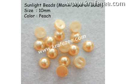 Manik Separuh Bulat 10mm Peach (1 Pack 50 pcs)