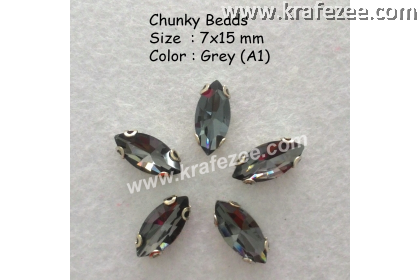 Chunky Beads (Ellipse) - Grey (5 pcs)