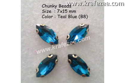 Chunky Beads (Ellipse) - Teal Blue (5 pcs)