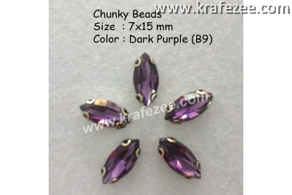Chunky Beads (Ellipse) - Dark Purple (5 pcs)