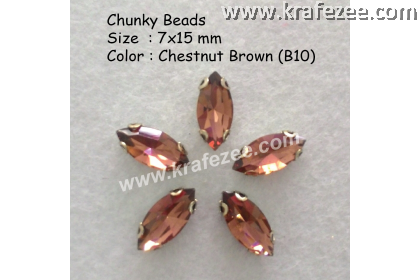 Chunky Beads (Ellipse) - Chestnut Brown (5 pcs)