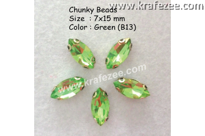 Chunky Beads (Ellipse) - Green (5 pcs)
