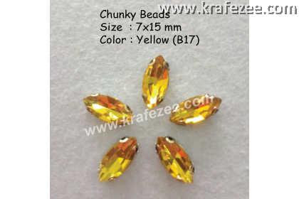 Chunky Beads (Ellipse) - Yellow (5 pcs)