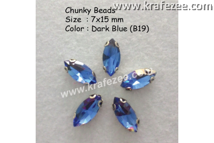 Chunky Beads (Ellipse) - Dark Blue (5 pcs)