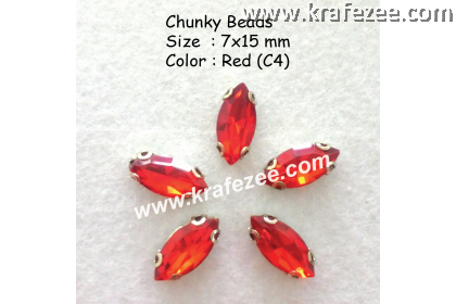 Chunky Beads (Ellipse) - Red (5 pcs)